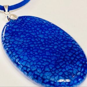 Stunning Cobalt Blue Agate Necklace